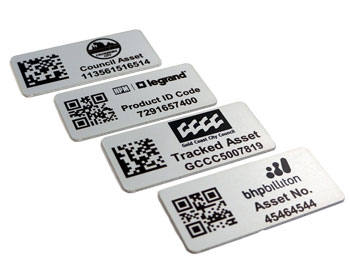 Aluminium asset labels with datamatrix